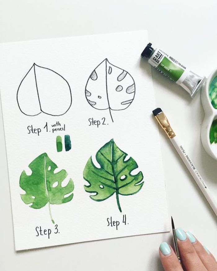 Drawing sheet with watercolor paints, instructions in four steps for beginners, b …