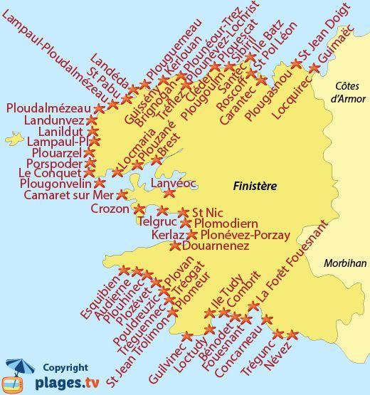Nordfrankreich Karte.Carte Des Stations Balnéaires Du Finistère En Bretagne Balnéaires