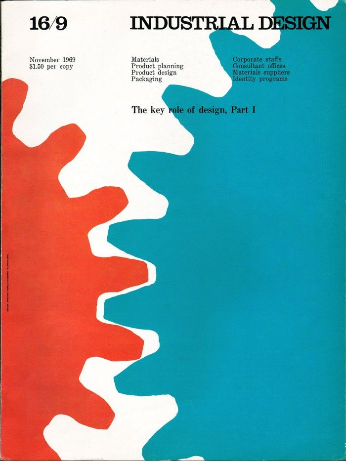 Massimo Vignelli handled the art direction during this period (1968-69) of Industrial Design's history.