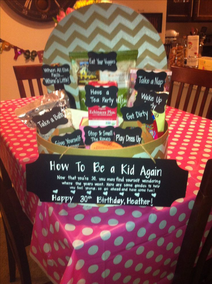 """30th birthday present to my best friend! How to Be A Kid Again. Take A Bath - bath soak & loofah. Play Dress Up- fun necklace. Give Yourself A Makeover- OPI nail polish. Wake Up Early- coffee. Have a Tea Party- hot tea. Stop & Smell the Roses- rose scented candle. Eat Your Veggies- veggie chips. Take a Nap- eye mask. Get Dirty- mud mask. When All Else Fails... Whine a Little! - """"Milestone"""" wine."""