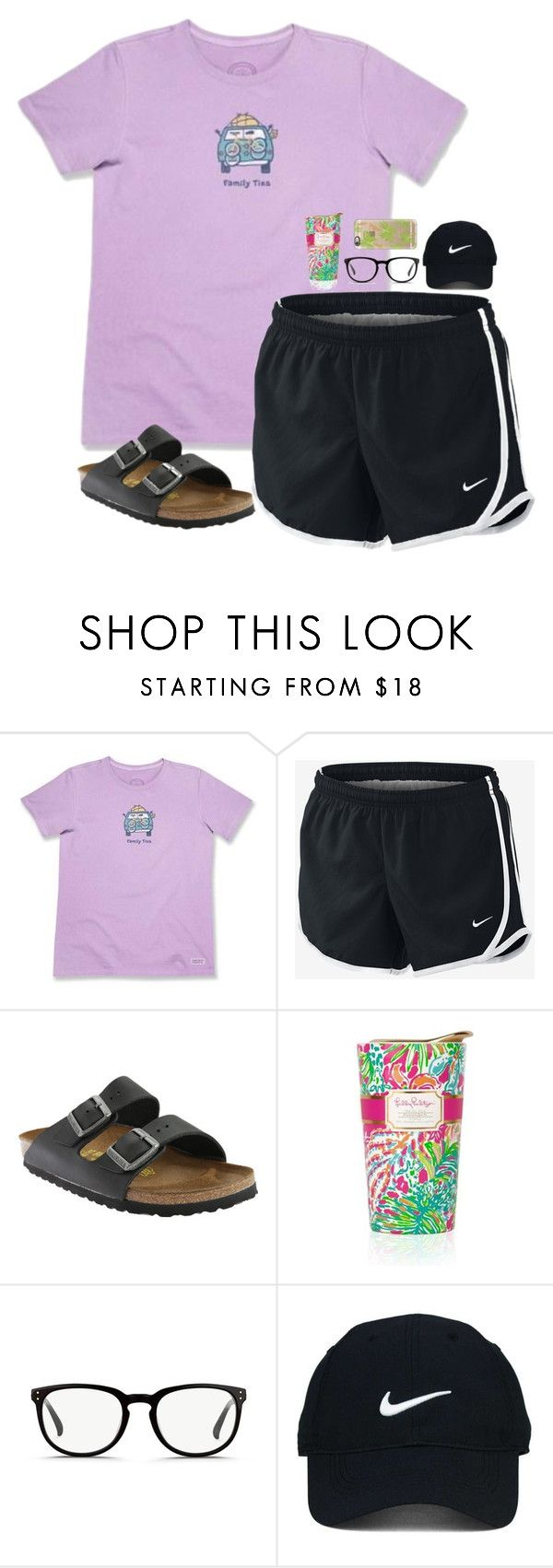 """Classic prep"" by sydneefashion ❤ liked on Polyvore featuring Life is good, NIKE, Birkenstock, Lilly Pulitzer, Linda Farrow, Nike Golf and Casetify"