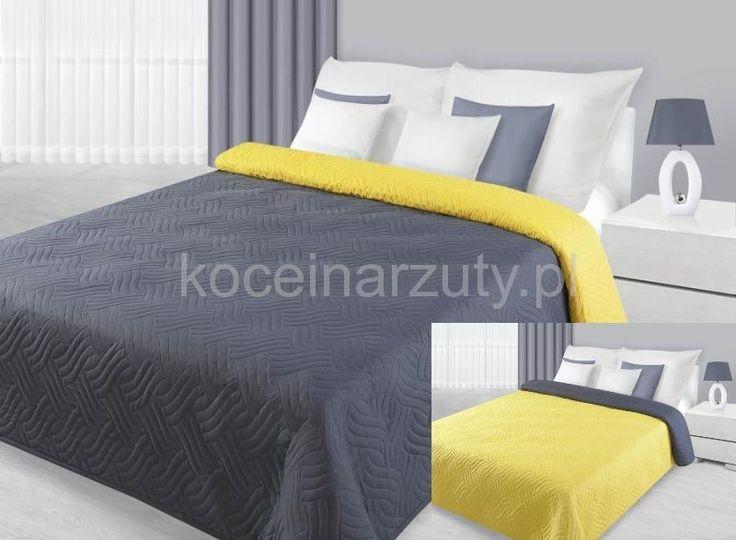 Narzuty dwustronne na łóżko w kolorze szaro żółtym