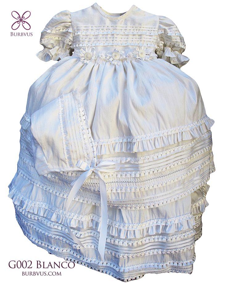 Vestido para niña, excelente para ocasiones especiales, modelo G002 en seda #ropones #bautizo #burbvus