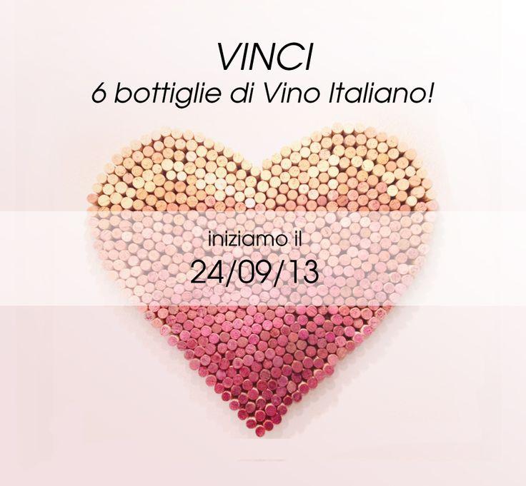 Il 24/09/13 iniziamo un altro concorso dove puoi vincere sei bottiglie di vino italiano! www.italiaworldwi... #vino #concorso #vinci #tappi per vino #diy #cuore