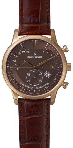 nice Claude Bernard Men's 01506 37R BRIR Classic Rose Gold PVD Brown Dial Chrono Leather Watch