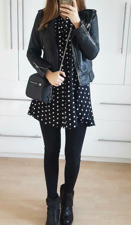 Dress, leather jacket and leggings., #Dress # leather jacket #leggings   – Jacke für Frauen