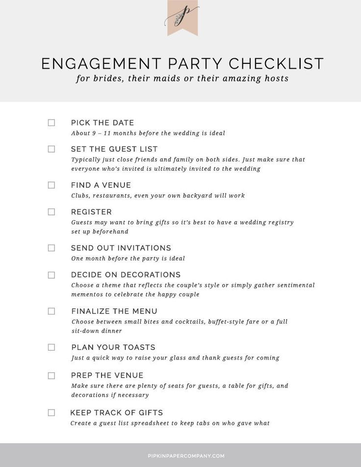 Engagement Party Checklist Wedding Planning Engagement Party