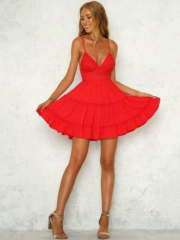 Festa Richiesta Popolare  Elegante vestito abito rosso pizzo bohemien ginocchio morbido 5125 | Mini  abito, Abiti rossi, Vestiti