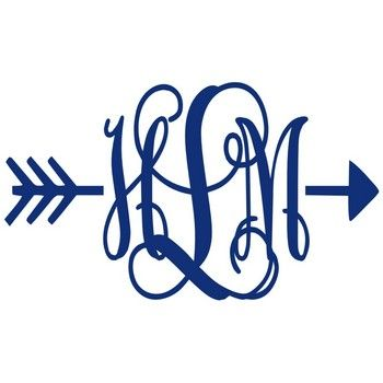 Arrow Vinyl Decal With Monogram - Multiple Colors
