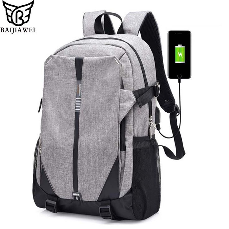 BAIJIAWEI Men USB Charging Backpack Simple Canvas Laptop Rucksack Men Women Trend Campus School Bags For Teenagers Computer Bags //Price: $24.49 & FREE Shipping //     #hashtag3