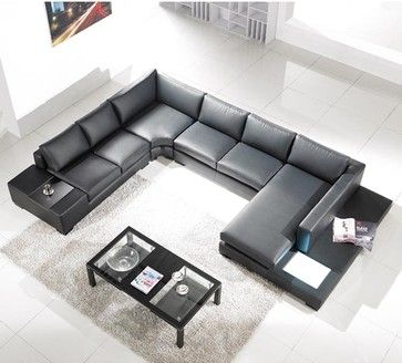 Tosh Furniture Modern Black Bonded Leather Sectional   Modern   Sectional  Sofas     By Hayneedle