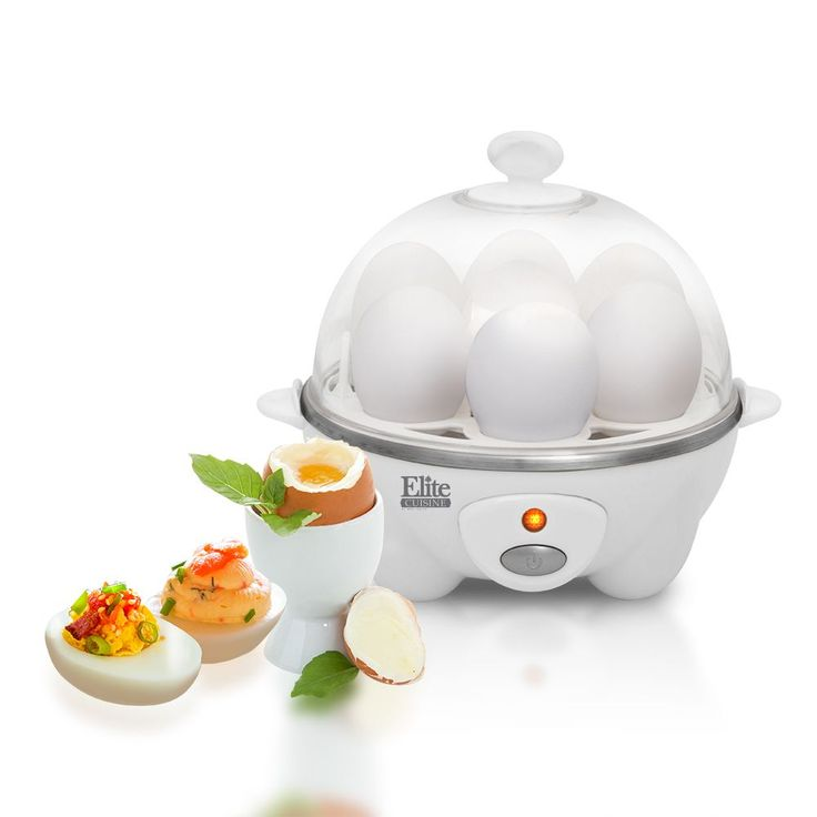 Cook 7 eggs at once with the Elite Automatic Easy Egg Cooker. This unit will consistently prepare eggs to your desire including settings for hard, medium, or soft-boiled eggs without fat or oil.