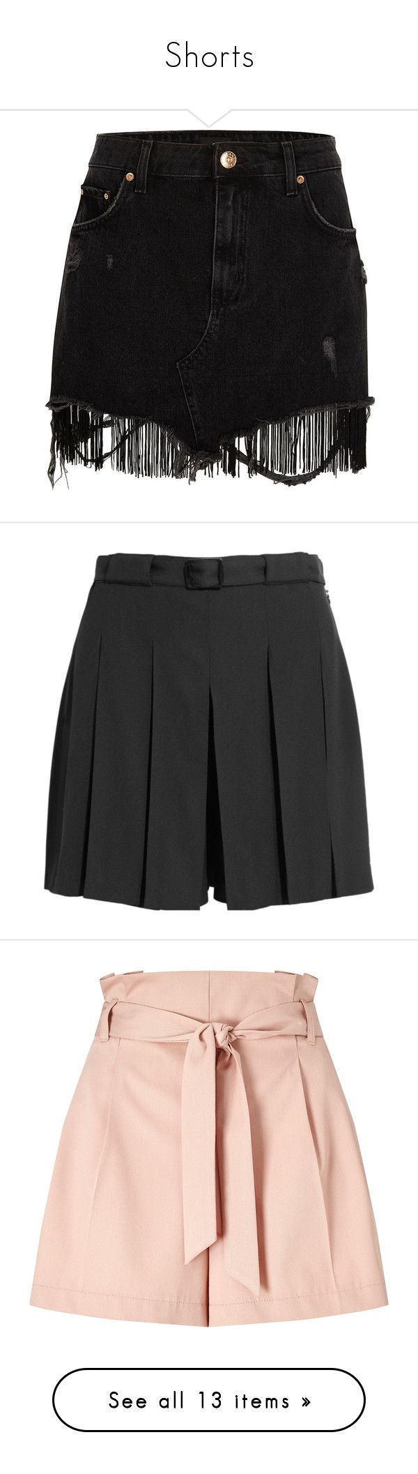 """""""Shorts"""" by jordan-mobley ❤ liked on Polyvore featuring skirts, mini skirts, shorts, black, women, zipper mini skirt, tall skirts, short skirts, distressed skirt and distressed denim skirt"""