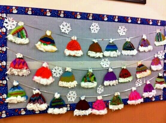 Winter hats...paint with patterns...glue on cotton ball on top and cotton on bottom... hang on a line