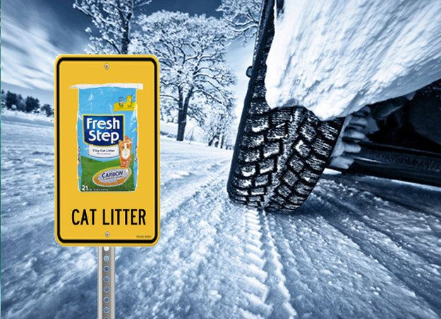 Keep a 20-pound bag of kitty litter in your trunk to give your back end extra weight. | 18 Winter Car Hacks That Are Borderline Genius