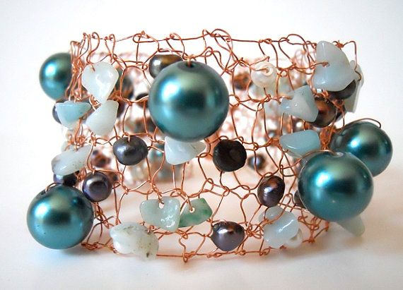 Copper Bracelet Cuff Statement Jewelry Wire Knit Unique by imwyred: Copper Bracelet