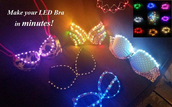 Diy Led Kit Up To 6 Feet Of Lights Create Your Very Own Led Etsy Led Diy Led Bra Rave Bra