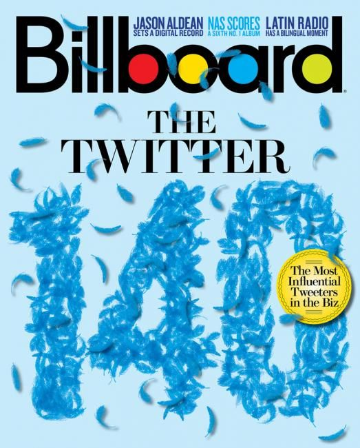 Billboard Magazine cover. Creative Director: Andrew Horton. Immediately knew the blue feathers had something to do with Twitter - clever! #publications