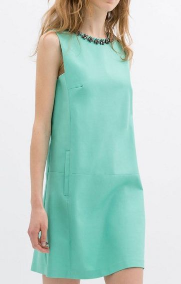 mint shift dress with embellished collar