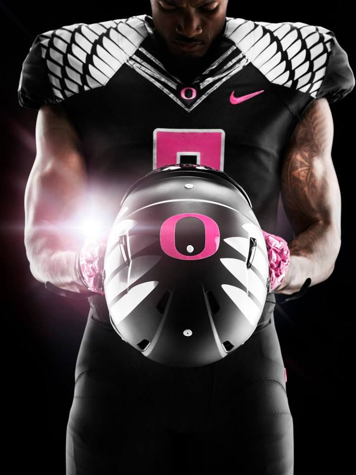 "10/2/2014: University of Oregon Football 2014 jerseys for ""Breast Cancer Awareness Month."""