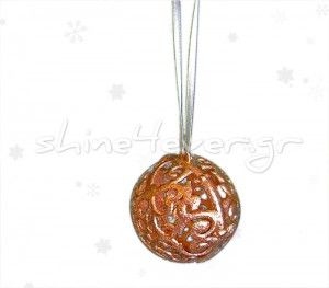 """A plastic christmas ball ornament, """"coated"""" in bronze!!! A """"shiny"""" ornament for your christmas tree, by shne4ever.gr!!! A sparkling touch for your home!!"""