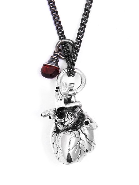 """""""Anatomical Heart and Garnet"""" by Lost Apostle (Antique Silver) #InkedShop #jewelry #necklace #heart #style #fashion"""