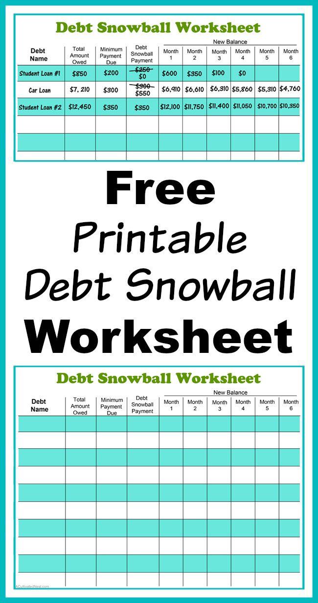 Free Printable Debt Snowball Worksheet Living Frugally