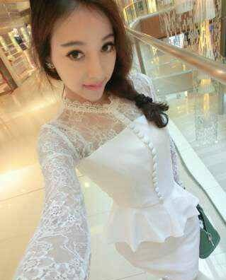 Women's Elegant White O-Neck Solid Lace Above Knee Long Sleeve Bodycon Dress - 30945904