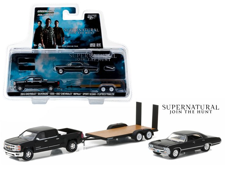 "2015 Chevrolet Silverado 1500 and 1967 Chevrolet Impala Sport Sedan on Flatbed Trailer ""Supernatural"" TV Series (2005-Current ) 1/64 Diecast Model Cars by Greenlight - Brand new 1:64 scale car models of 2015 Chevrolet Silverado 1500 and 1967 Chevrolet Impala Sport Sedan on Flatbed Trailer ""Supernatural"" TV Series (2005-Current ) die cast car models by Greenlight. Limited Edition. Detailed Interior, Exterior. Metal Body. Comes in a blister pack. Officially Licensed Product. Dimensions…"