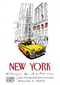 New York, dibujos de Arranz del 27 de abril al 20 de mayo. Exposición de 50 originales de Jorge Arranz resumen de la multitud de sensaciones recibidas tras varios días de patear, sin rumbo fijo, una ciudad que pertenece al mundo.