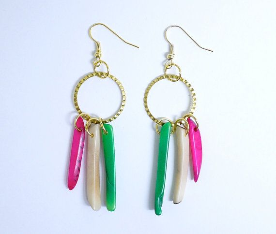 Tagua nut stick dangle earrings in pink green and by gtgadabout, $27.80