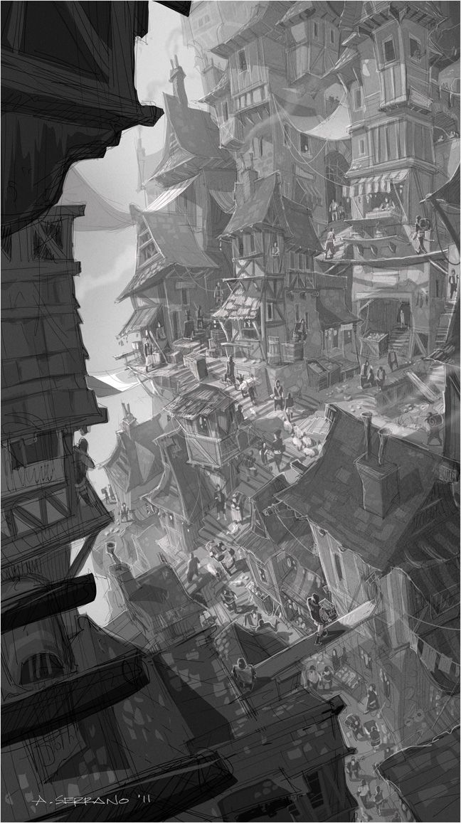 A village structured vertically. I tried to mimic the values if I could have done it in pencil.