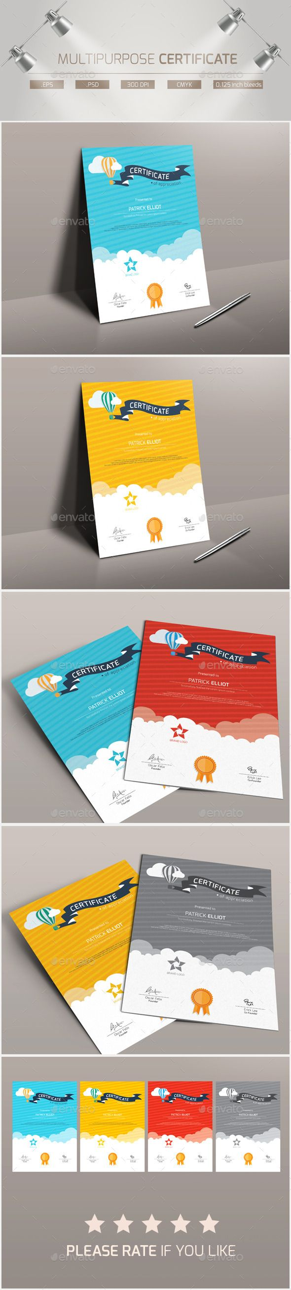 Multipurpose Certificate Template PSD, Vector EPS. Download here: http://graphicriver.net/item/multipurpose-certificate/12200843?ref=ksioks