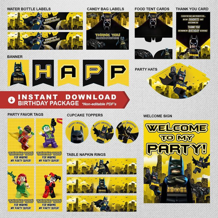 Lego Batman Geburtstagsparty Paket, Lego Batman Party Dekoration, Lego Batman Party Ausdrucke, Lego Batman Partyzubehör, INSTANT DOWNLOAD   – Kids Themed Birthday Party Packages