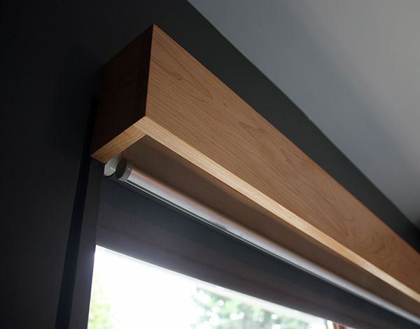 Valance construction - Glue and biscuit the joints, then attach it to the wall using long screws that go through the top of the end pieces at an angle. Top left open to simplify construction and keep it from becoming a dust shelf.