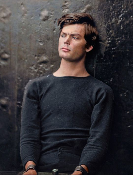 A captivating colorized photograph of Abraham Lincoln assassination conspirator Lewis Thornton Powell, in custody aboard the USS Saugus. Photographed by Alexander Gardner, 1865.  By his handsomeness and the modernity of his looks, it's unbelievable that this photo was taken about 150 years ago! Goes to show, the world was not always black and white.   via reddit  My mothers maiden name is Powell, I wonder if he is a relative?