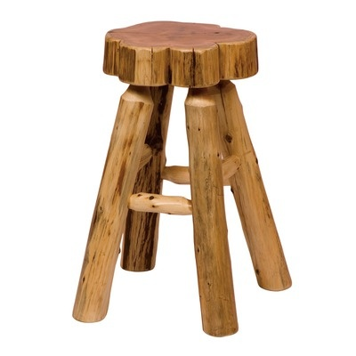 Fireside Lodge Traditional Cedar Log Slab Barstool with Tenoned Leg Rests