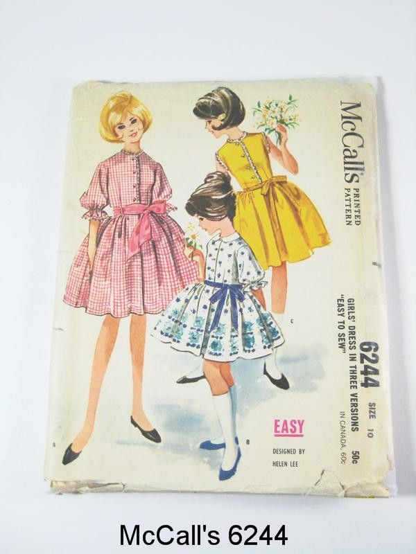 Girls' Dress Pattern - McCall's 6244 Girls' Sashed Dress in Three variations - Vintage 1962 - Size 10. $8.00, via Etsy.