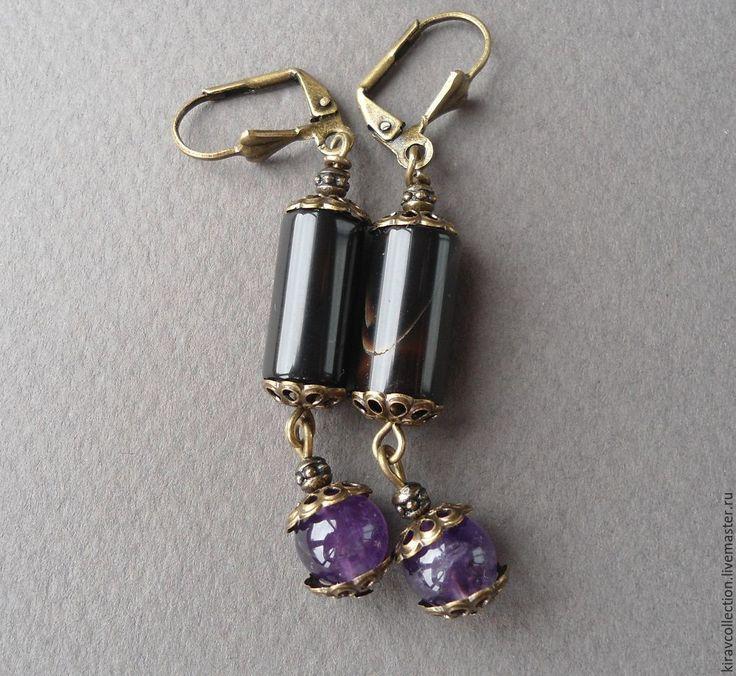 Купить Серьги аметист, агат Встреча с тобой - фиолетовый, черный, серьги черные, серьги фиолетовые