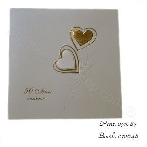50th wedding anniversary invitations, gold foiled hearts. Elegant and simple design for a 50th wedding anniversary #party #invitations  http://www.bombonierashop.com/en/department/11/Gold-and-Silver-Wedding-Anniversary-Favours.html