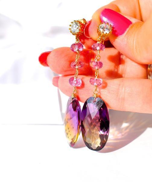Summer Special! Amazing Bi Color Ametrine Earrings