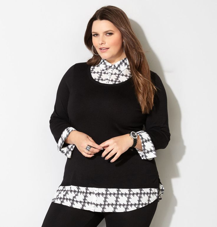 Shop trendy new to get the layered look without the bulk. Find this Pin and  more on Plus Size Tops ...