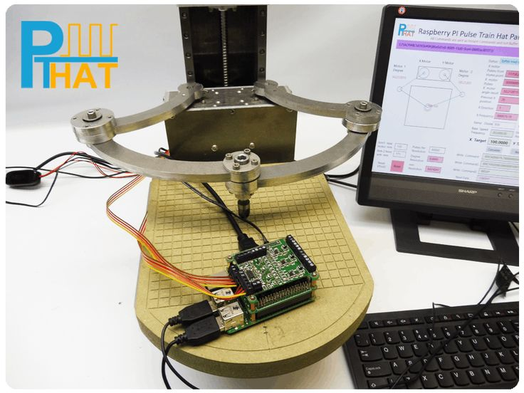 Pulse Train Hat controlling Parallel Scara Robot Arm