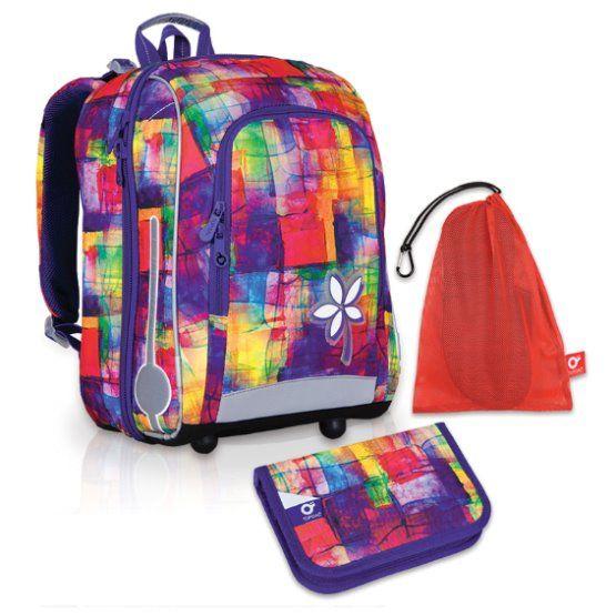 Velký školní set TOPGAL-CHI 735 I Purple + CHI 755 Purple a pytlík na přezuvky