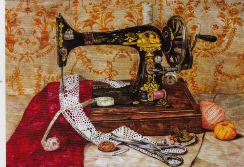 VERY-RARE-Still-life-with-a-sewing-mashine-Vladimirova-Russian-modern-postcard