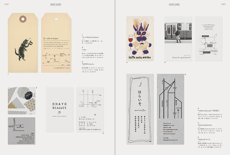 "Inside pgae of ""SMALL SHOP PRINTINGS: Striking Designs for Shop Cards, Direct Mailings and Flyers for Small Businesses"" #ShopCard #GraphicDesign #JapaneseGraphicDesign"