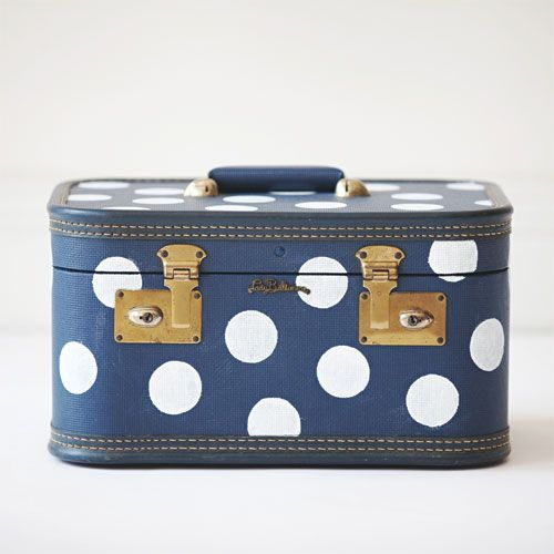 { Lady Dot } - hand painted vintage suitcase