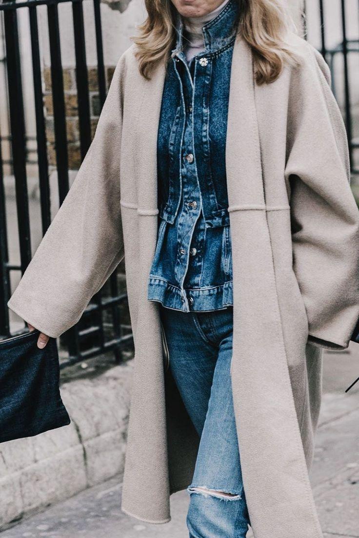 London Fashion week street style - jean jacket and long coat