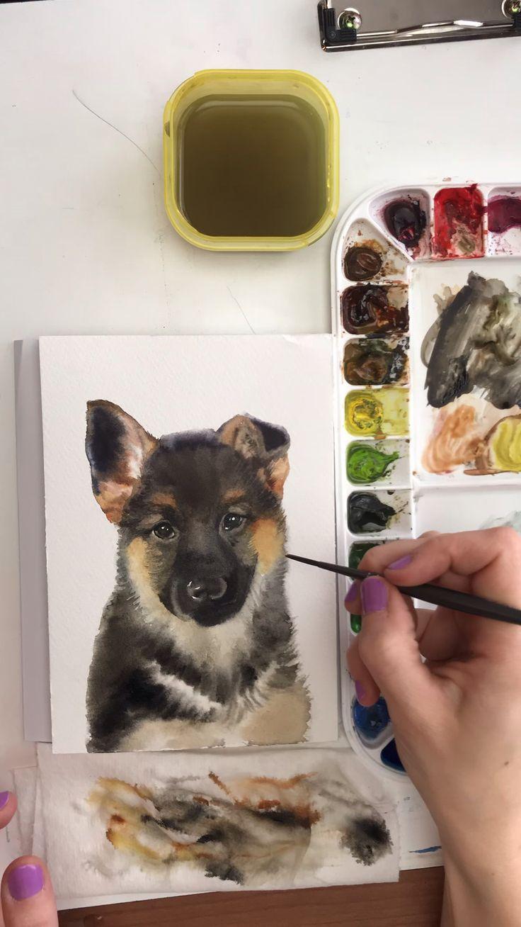 Watercolor time lapse German Shepherd Puppy