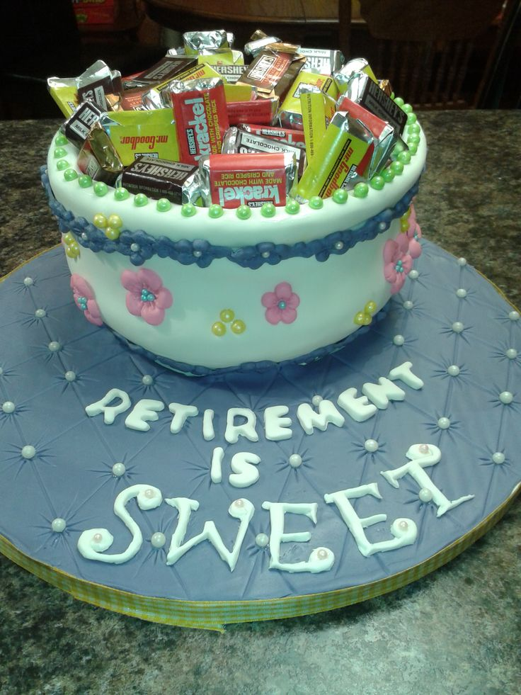 candy dish retirement cake